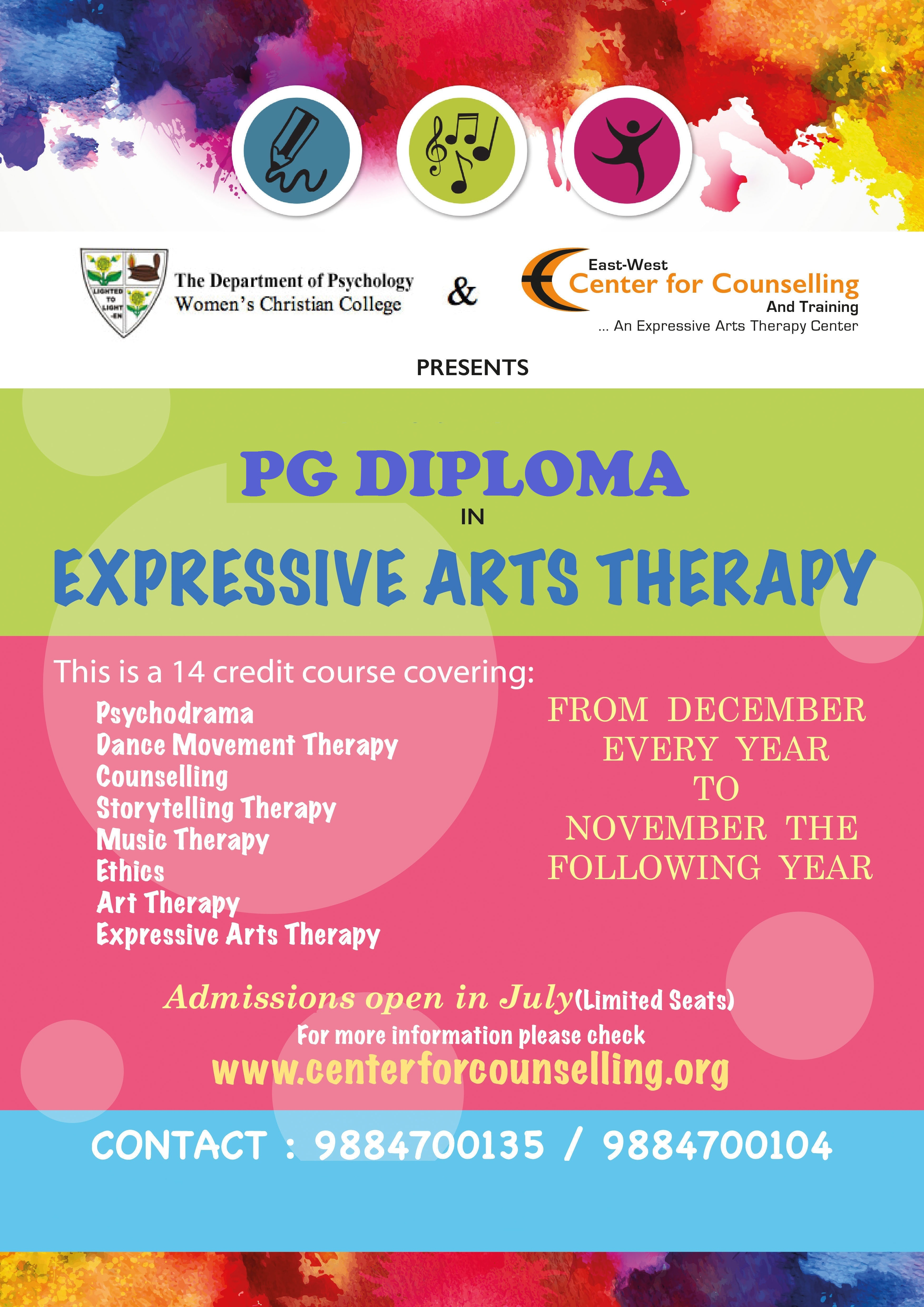 Pg Diploma Course In Expressive Arts Therapy East West Center For